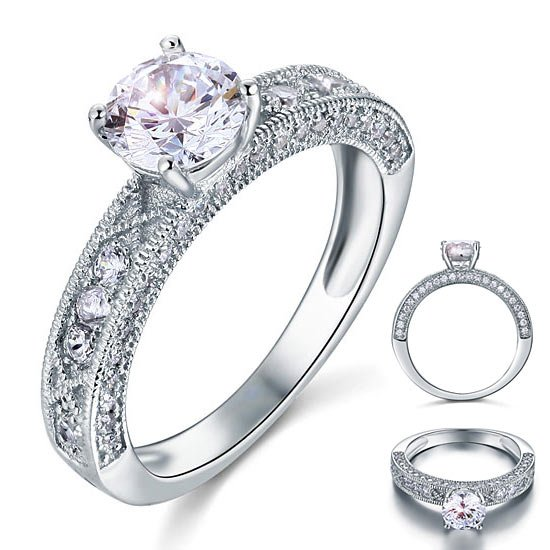 Vintage Style 1.25 Carat Created Diamond Solid 925 Sterling Silver Bridal Wedding Engagement Ring 1