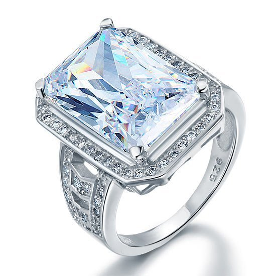 Radiant Cut Created Diamond 925 Sterling Silver Ring 1