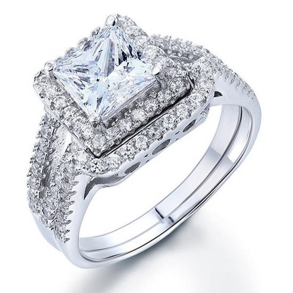 1.5 Carat Princess Created Diamond Solid 925 Sterling Silver Wedding Promise Engagement Ring Set 1