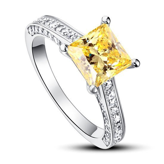 1.5 Carat Princess Cut Yellow Canary Created Diamond 925 Sterling Silver Wedding Engagement Ring 1