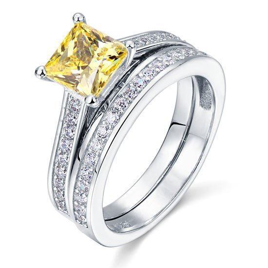 1.5 Ct Princess Cut Yellow Canary Solid 925 Sterling Silver 2 Pcs Wedding Ring Set 1