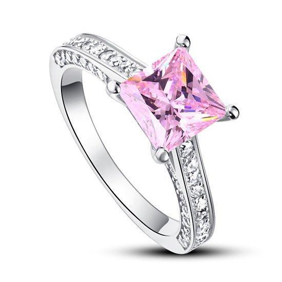 1.5 Carat Princess Cut Fancy Pink Created Diamond 925 Sterling Silver Wedding Engagement Ring 1