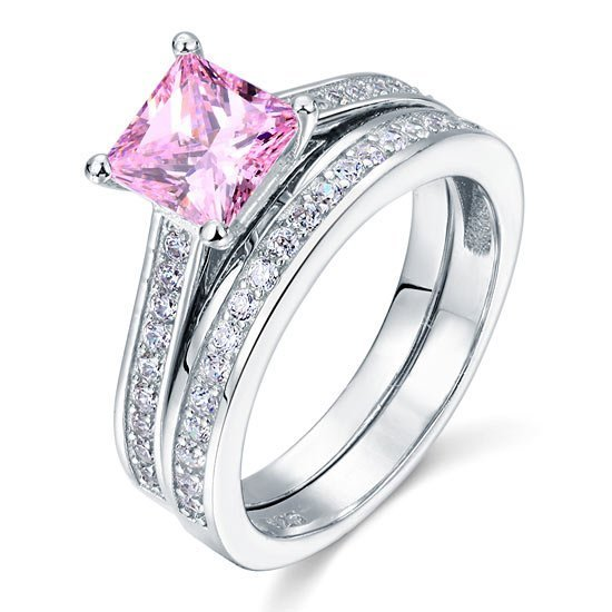 1.5 Carat Princess Cut 2 Pc Fancy Pink Created Diamond Wedding Engagement Ring Set 1