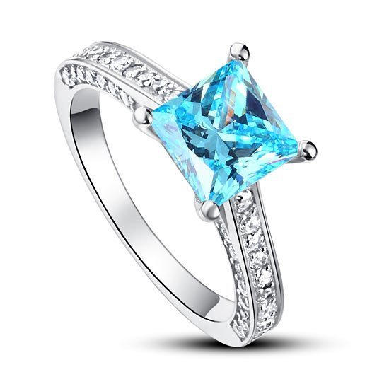 Carat Princess Cut Fancy Blue Created Diamond 925 Sterling Silver Wedding Engagement Ring 1