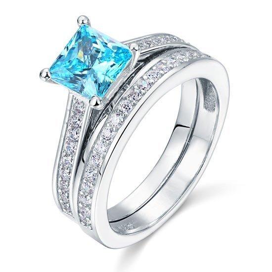 1.5 Carat Princess Cut 2 Pcs Fancy Blue Created Diamond 925 Sterling Silver Wedding Engagement Ring Set 1