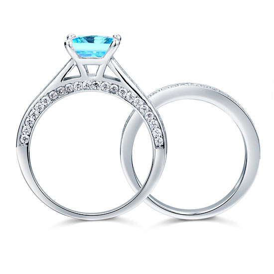 7b9412487 1.5 Carat Princess Cut 2 Pcs Fancy Blue Created Diamond 925 Sterling Silver  Wedding Engagement Ring
