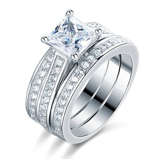 Sterling Silver 3 Pcs Wedding Engagement Ring Set Created Diamond 1