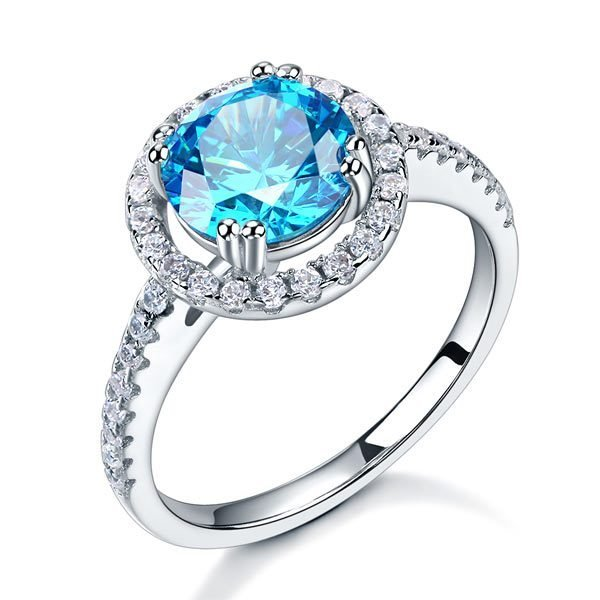 Sterling Silver Wedding Engagement Halo Ring 2 Carat Fancy Blue Created Diamond 1