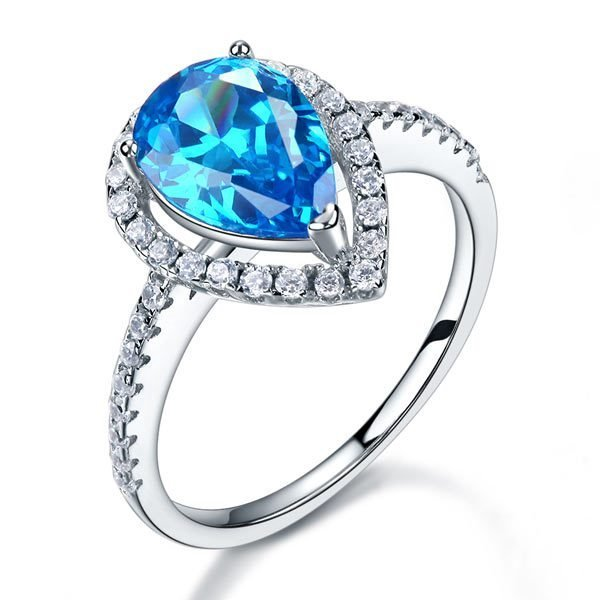 Sterling 925 Silver Wedding Engagement Ring Pear Blue Created Diamond Jewellery 1