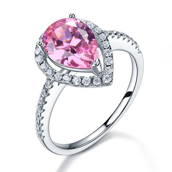 Sterling 925 Silver Wedding Engagement Ring Pear Fancy Pink Created Diamond Jewellery 1