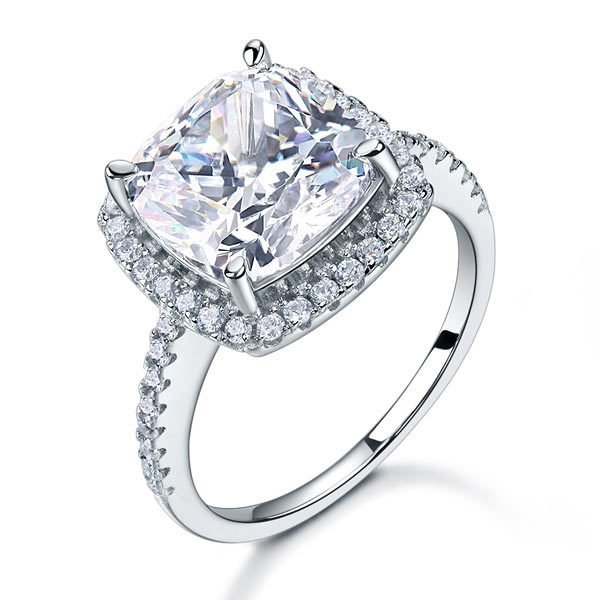 925 Sterling Silver Wedding Engagement Ring 5 Carat Created Diamond 1