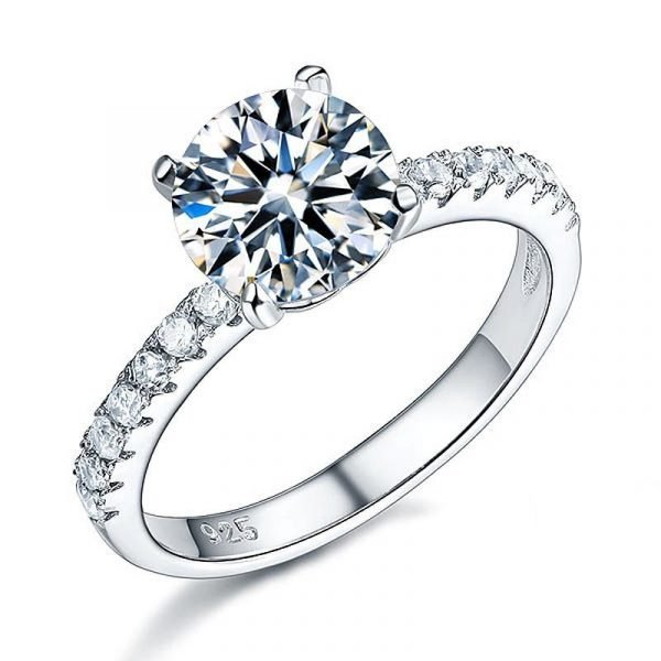925 Sterling Silver Bridal Engagement Ring 2 Carat Created Diamond Jewellery 1