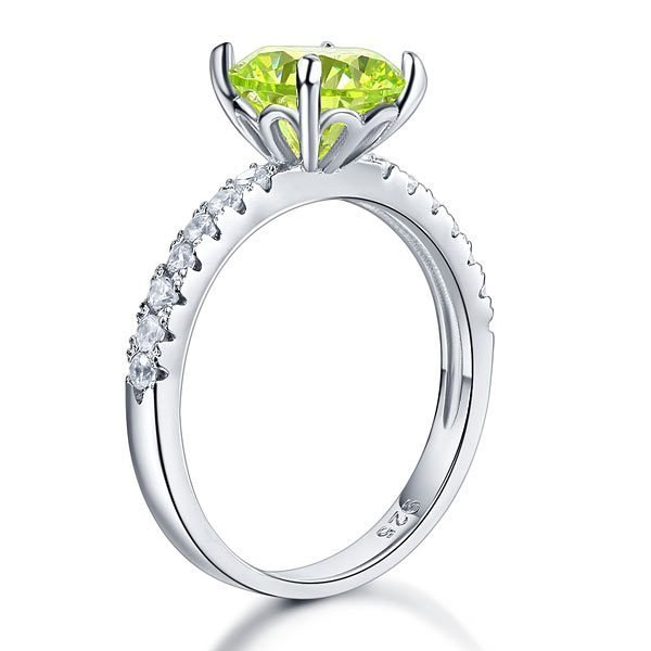 Sterling Silver Bridal Wedding Promise Engagement Ring 2 Carat Green Jewellery 1