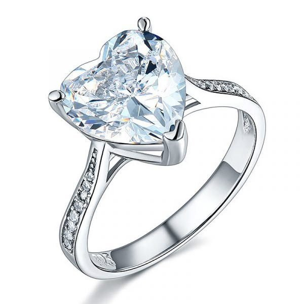 925 Sterling Silver Bridal Engagement Ring 3.5 Carat Heart Created Diamond Jewellery 1