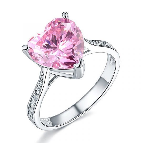 Sterling Silver Bridal Engagement Ring 3.5 Carat Heart Pink Created Diamond Jewellery 1