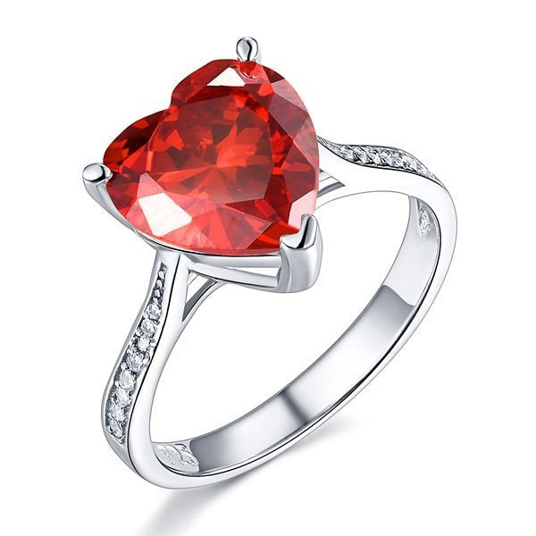 Sterling Silver Bridal Ring 3.5 Carat Heart Ruby Red Created Diamond Jewellery 1