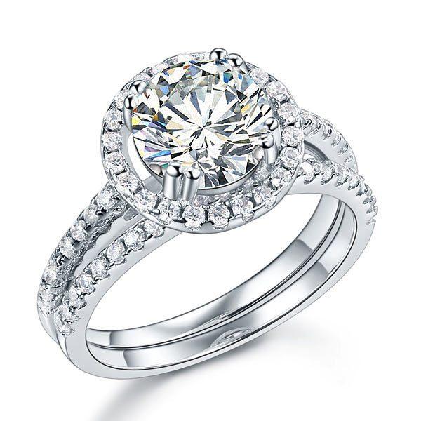 Sterling Silver Wedding Halo Ring Set 2 Carat Created Diamond 1