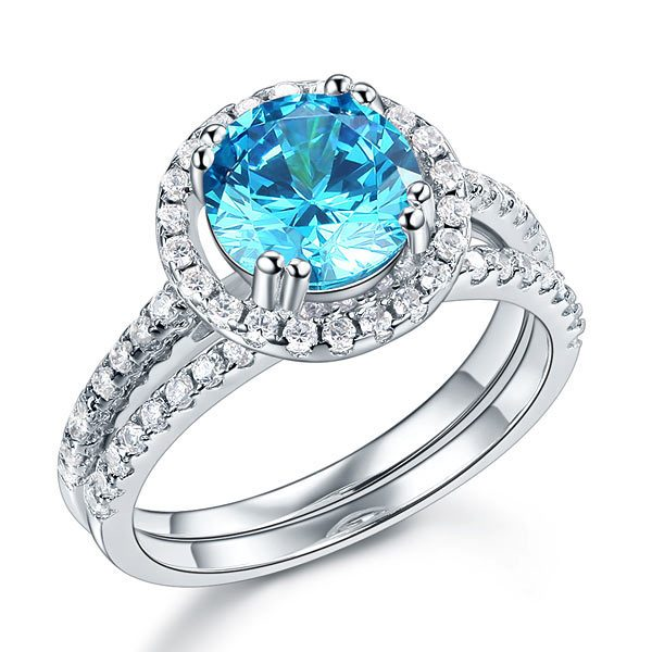 Sterling Silver Wedding Engagement Halo Ring Set 2 Carat Blue Created Diamond 1