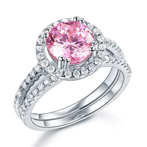 Sterling Silver Wedding Engagement Halo Ring Set 2 Carat Pink Created Diamond Wedding Jewellery 1