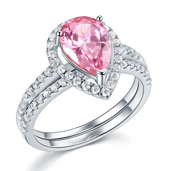 Sterling 925 Silver Bridal Wedding Engagement Ring Set 2 Carat Pear Fancy Pink Created Diamond Jewellery 1