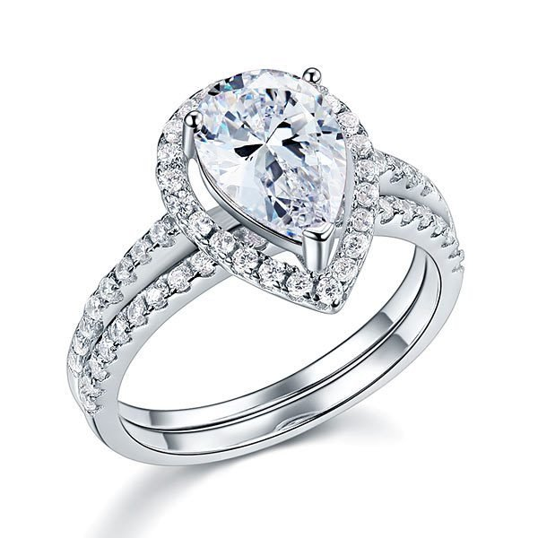 Solid Sterling 925 Silver Bridal Wedding Promise Engagement Ring Set 2 Ct Pear 1