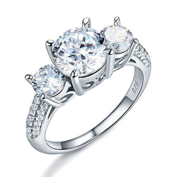 925 Sterling Silver 3-Stone Wedding Ring 2 Carat Created Diamond Jewellery Vintage Style 1