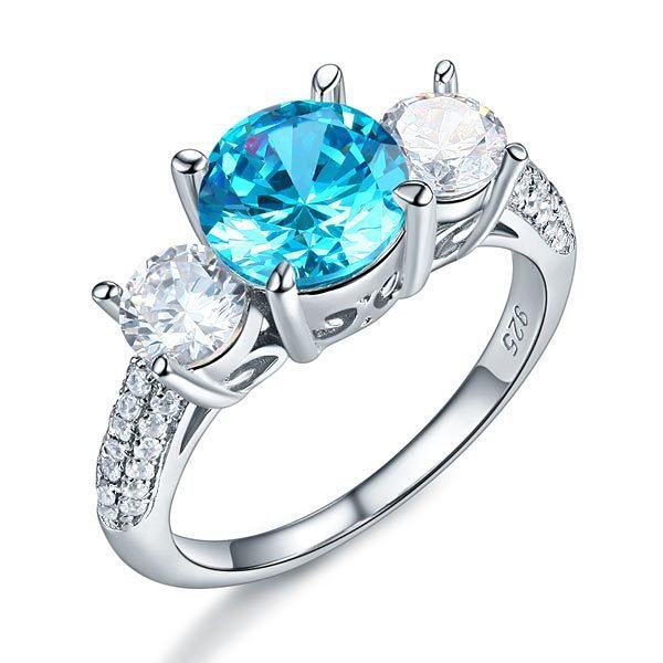 Sterling Silver 3-Stone Bridal Ring 2 Carat Created Blue Diamond Vintage Style Jewellery 1