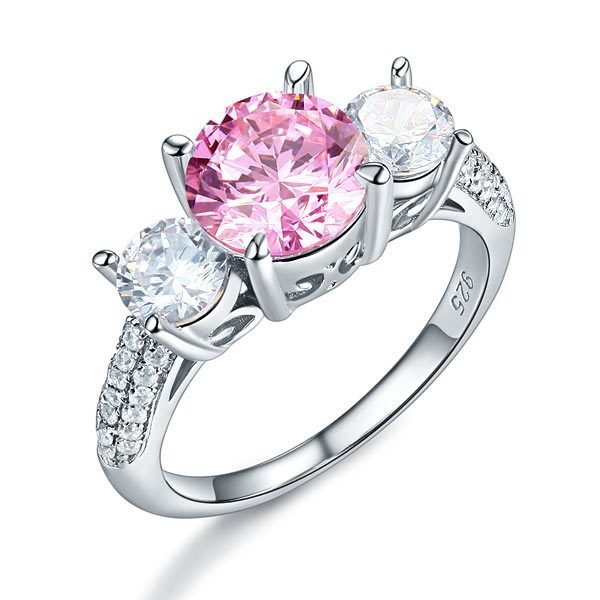 Sterling Silver 3-Stone Wedding Ring 2 Carat Fancy Pink Created Diamond Jewelry Vintage Style 1