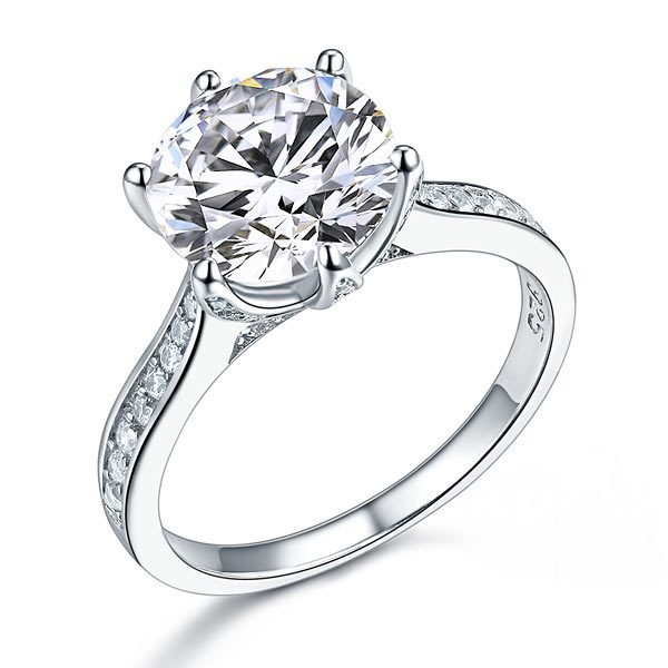 925 Sterling Silver Luxury Wedding Engagement Ring 3 Carat Created Diamond Jewellery 1