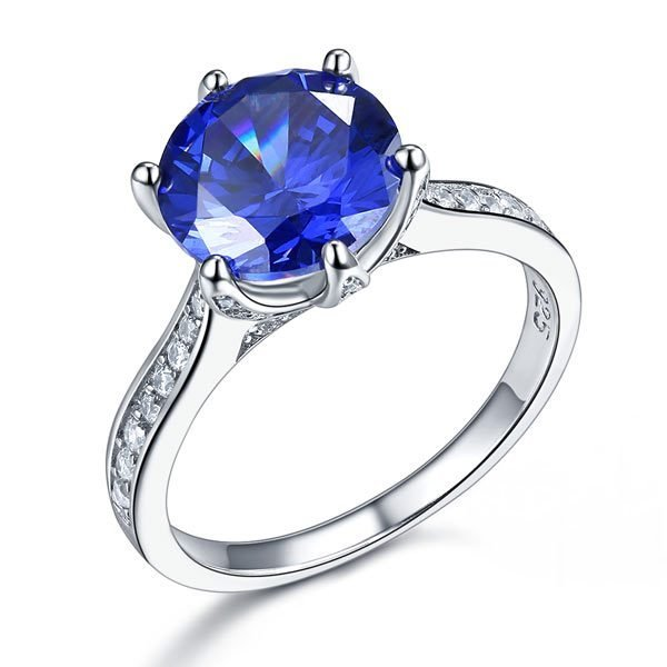 Sterling Silver Engagement Luxury Ring 3 Carat Blue Created Tanzanite Jewellery 1