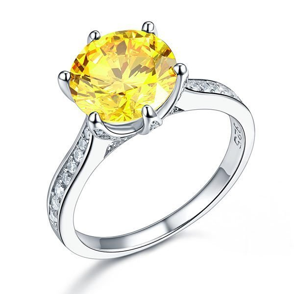 Sterling Silver Bridal Engagement Luxury Ring 3 Carat Yellow Canary Created Diamond Jewellery 1
