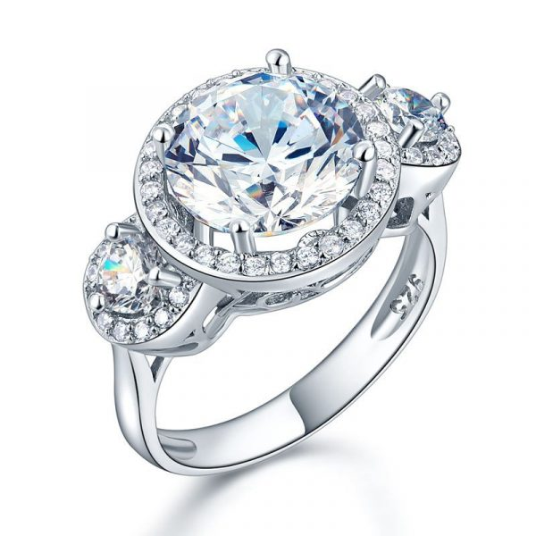 Three-Stone 925 Sterling Silver Promise Engagement Ring Vintage Victorian Art Deco 3.5 Ct 1