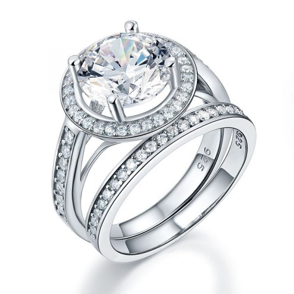 Luxury 925 Sterling Silver Promise Engagement Ring Set 3.5 Ct Vintage Created Diamond 1