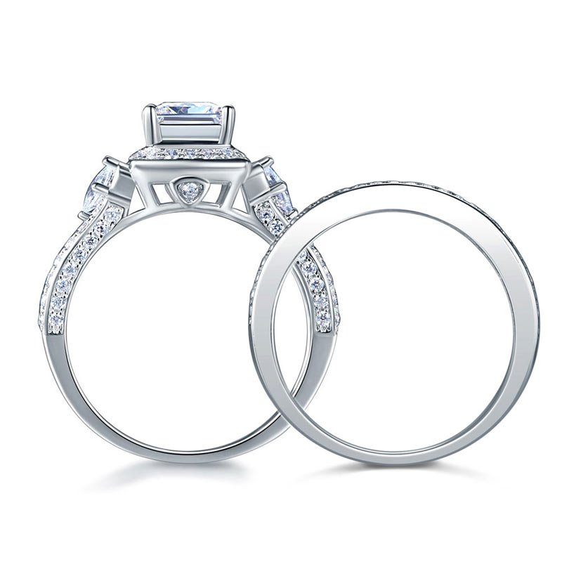 ef664e5f1 Princess Cut 925 Sterling Silver Wedding Engagement Ring Set Anniversary 4