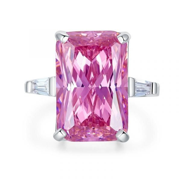 8.5 Carat Pink Created Diamante Stone Solid 925 Sterling Silver Ring Party Luxury Jewellery 1