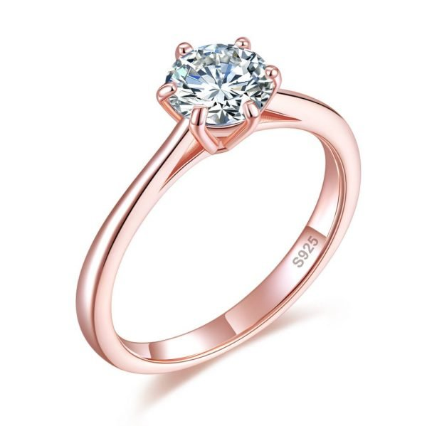 1 Carat 6 Claws Wedding Engagement Ring Solitaire Solid 925 Sterling Silver Rose Gold Plated 1