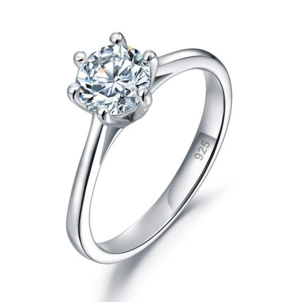 1 Carat Created Diamond Engagement Ring 925 Sterling Silver Classic 6 Claws 1