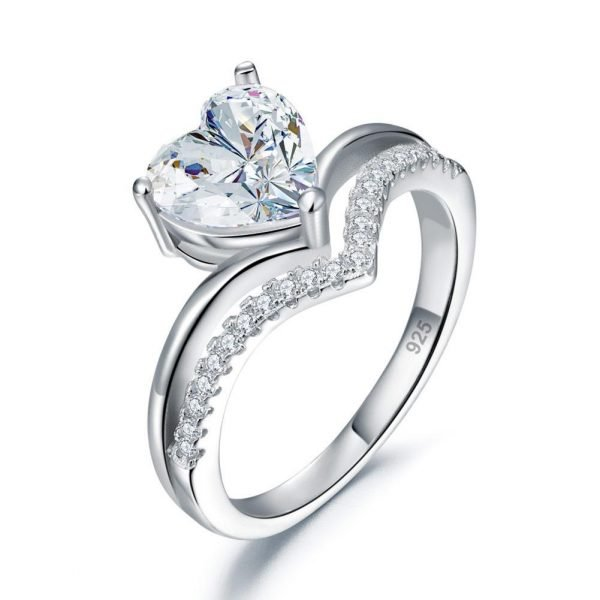 2 Carat Heart Created Cut Diamond Engagement Ring 925 Sterling Silver 1