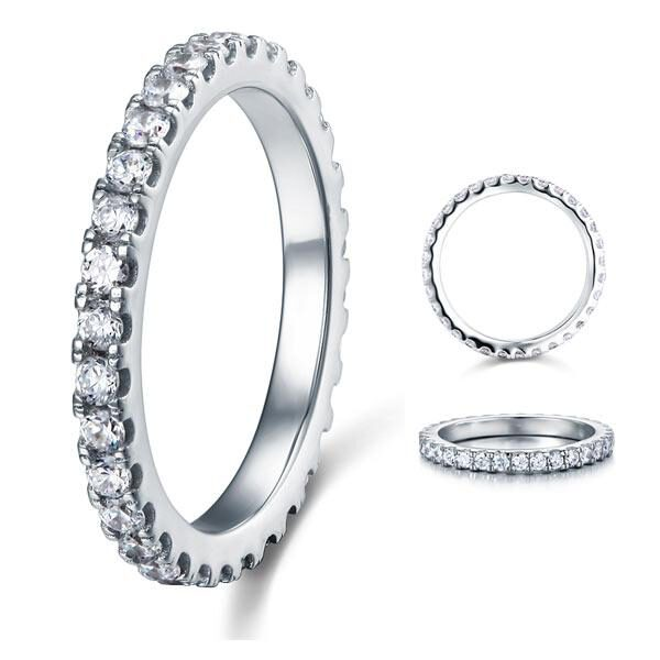 Micro Set Eternity Created Diamond Solid Sterling 925 Silver Wedding Ring LL-R8045 1
