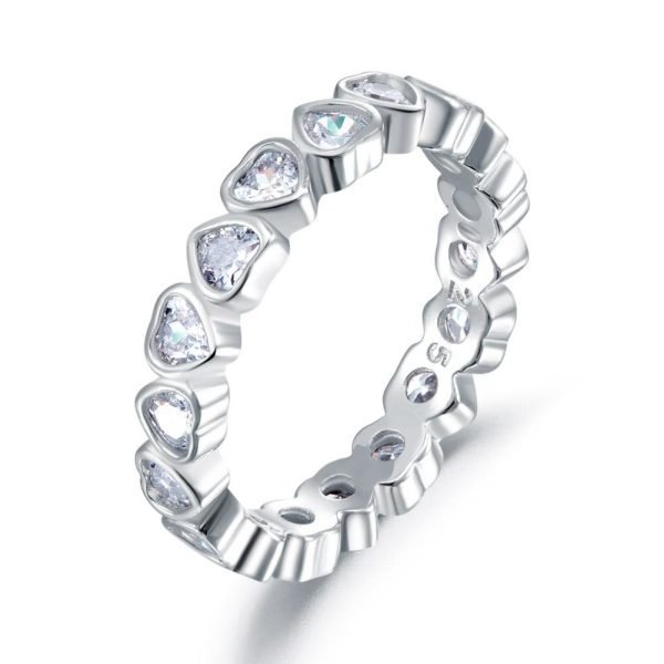 Eternity Wedding Band Heart Solid 925 Sterling Silver Stacking Ring Jewelry LL-R8321 1