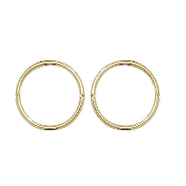 Genuine 9CT Yellow Gold 10mm Hinged Sleepers Earrings Gift Boxed 1
