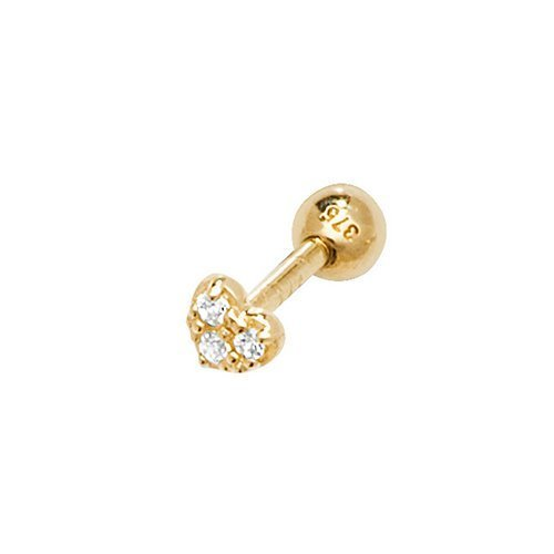 9CT YELLOW GOLD CZ HEART CARTILAGE 6MM POST STUD Earring 1