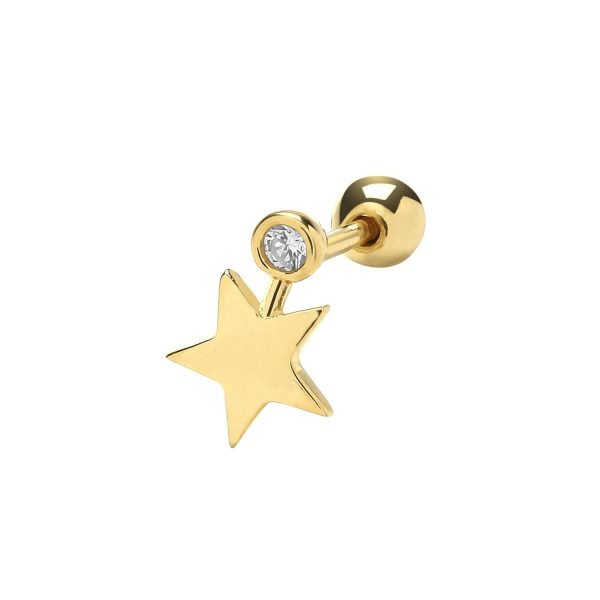 Genuine 9CT Yellow Gold CZ & Star Cartilage 6mm Post Stud 1