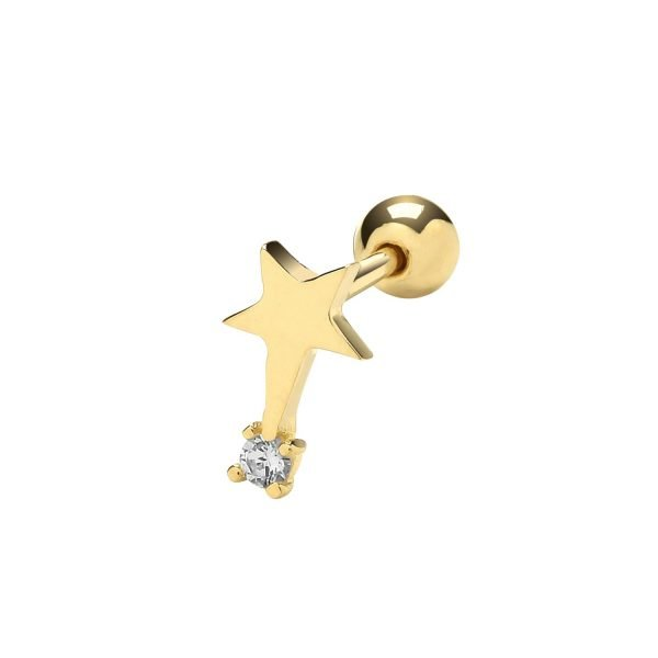 Genuine 9CT Yellow Gold CZ Shooting Star Cartilage 6mm Post Stud 1