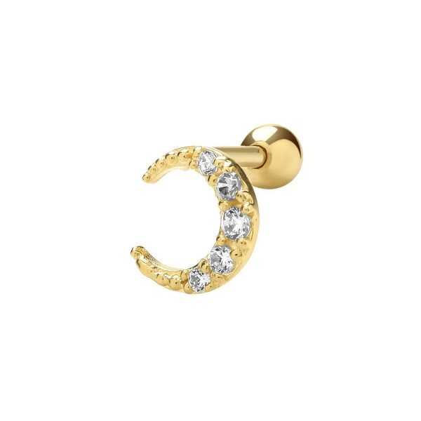 Genuine 9 CT Yellow Gold CZ Moon Cartilage 6mm Post Stud 1