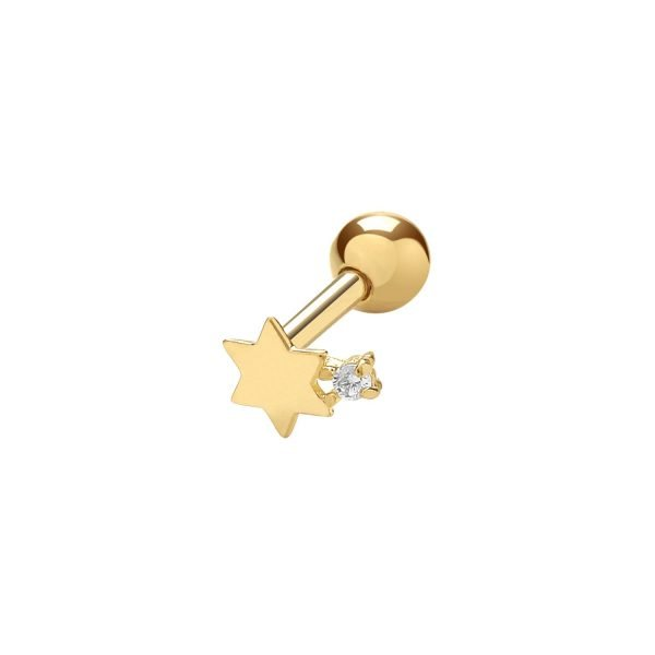 Genuine 9CT Yellow Gold Star Cartilage 6mm Post Stud 1