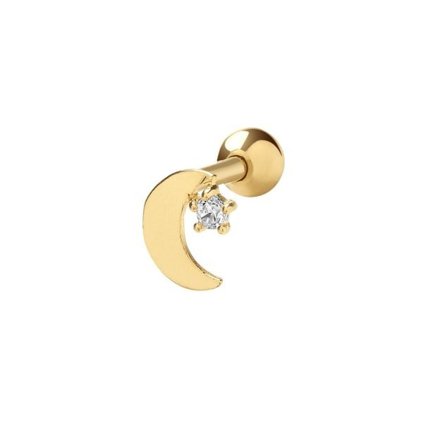Genuine 9CT Yellow Gold Moon Cartilage 6mm Post Stud 1