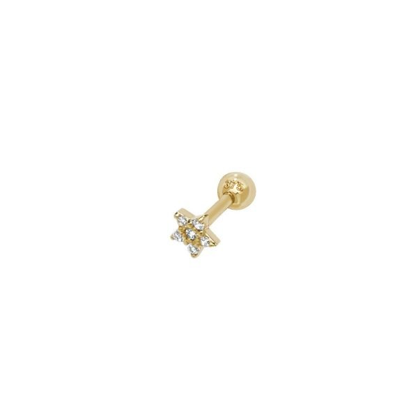 Genuine 9CT Yellow Gold CZ Star Cartilage 6mm Post Stud 1