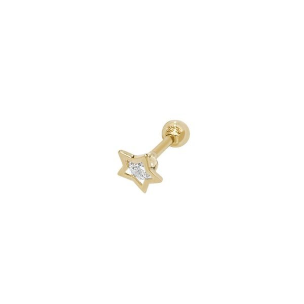 Genuine 9CT Yellow Gold CZ Center Stone Star Cartilage 6mm Post Stud 1