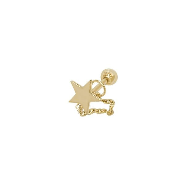 Genuine 9CT Yellow Gold Star with Chain Cartilage 6mm Post Stud 1